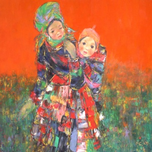 Doan Xuan Tang , red , mother and son