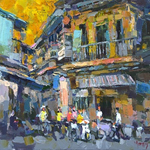 Hanoi Corner Street , Pham Hoang Minh , vietnam artists , vietnam paintings