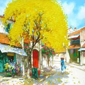 Lam Duc Manh , vietnam artist , vietnam painting , vietnam art , buy paintings online , Hanoi , autumn noon