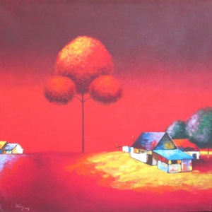Thieu Cong Binh , landscape painting , red